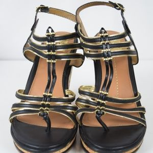 Dolce Vita Gold/Black Strappy Wedges Sz 9.5